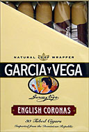 GARCIA Y VEGA ENGLISH CORONAS 30 TUBED CIGARS