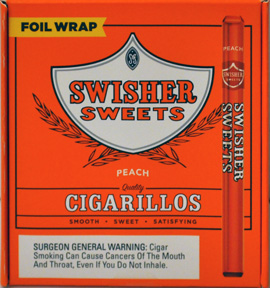SWISHER SWEETS CIGARILLOS PEACH FOIL WRAPPED 60CT BOX
