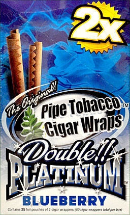 BLUNT WRAP DOUBLE PLATINUM - BLUEBERRY - 25 PACKS OF 2
