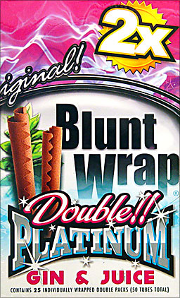 BLUNT WRAP DOUBLE PLATINUM - GIN & JUICE - 25 PACKS OF 2
