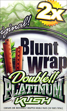 BLUNT WRAP DOUBLE PLATINUM - KUSH - 25 PACKS OF 2