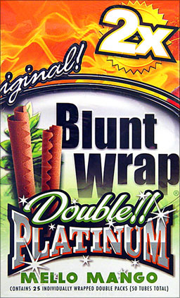 BLUNT WRAP DOUBLE PLATINUM - MELLO MANGO - 25 PACKS OF 2