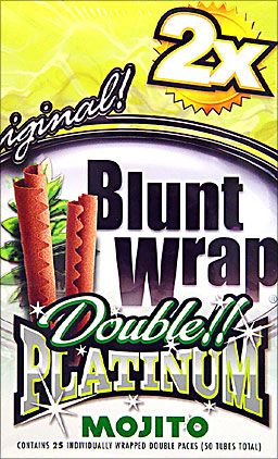 BLUNT WRAP DOUBLE PLATINUM - MOJITO - 25 PACKS OF 2