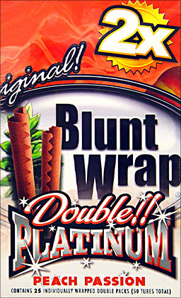 BLUNT WRAP DOUBLE PLATINUM - PEACH PASSION - 25 PACKS OF 2