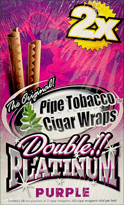 Buy BLUNT WRAP DOUBLE PLATINUM - PURPLE - 25 PACKS OF 2