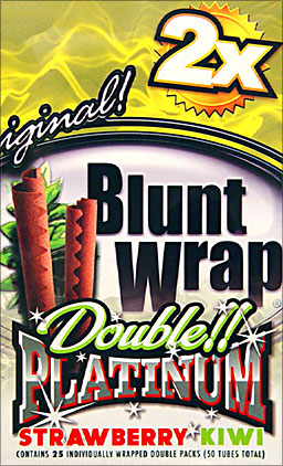 BLUNT WRAP DOUBLE PLATINUM - STRAWBERRY KIWI - 25 PACKS OF 2