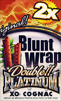 BLUNT WRAP DOUBLE PLATINUM - XO COGNAC - 25 PACKS OF 2