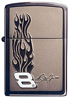 ZIPPO DALE JR. &quot;FLAMES EMBLEM&quot; - BLACK ICE