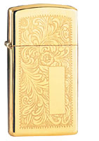 ZIPPO SLIM VENETIAN - HIGH POLISH BRASS