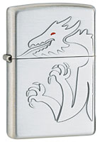 ZIPPO RED-EYED DRAGON - SATIN SILVER