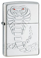 ZIPPO RED-EYED VIPER - SATIN SILVER