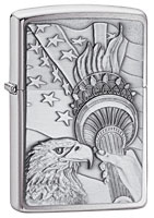 ZIPPO SOMETHING PATRIOTIC - BRUSHED CHROME