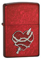 ZIPPO HEART ATTACK EMBLEM - CANDY APPLE RED