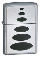 ZIPPO BLACK OVALS SATIN CHROME
