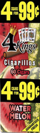 4 Kings Cigarillos Watermelon 15ct Box