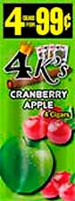 4 Kings Cigarillos Cranberry Apple 15ct Box