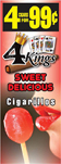 4 Kings Cigarillos Sweet Delicious 15ct Box